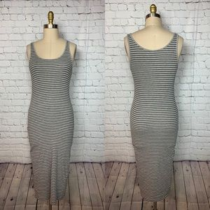 H&M Divided Midi Dress Striped Gray Black Tank Top